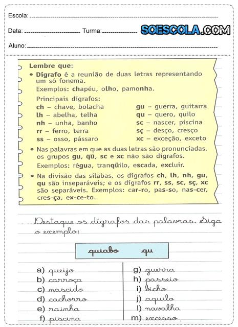 Atividades de português 5° ano