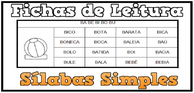Baixe em Word Fichas de Leitura de Sílabas Simples