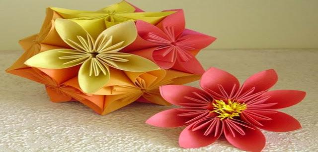 Diversas sugestões de dobraduras de flores