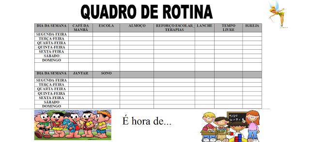 Quadro de Rotina - Como organizar o dia a dia da criança