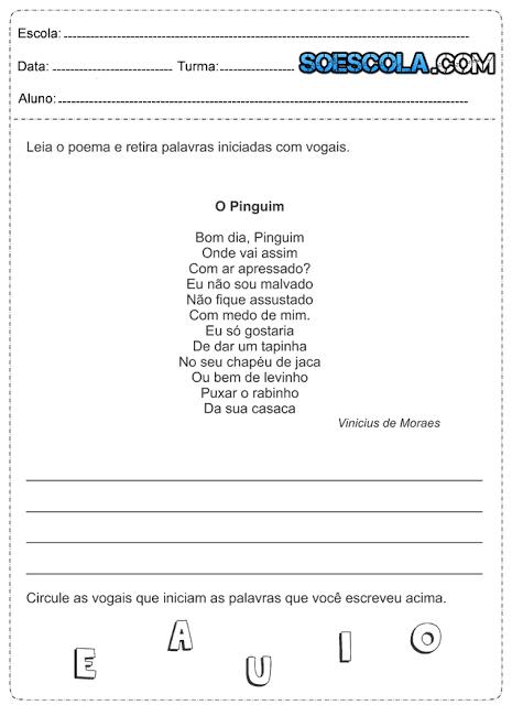Atividades de Português para o 1° ano