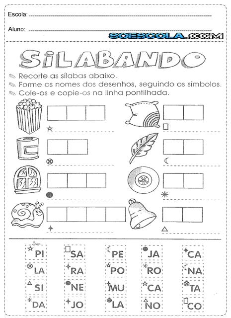 Atividades de juntar sílabas e formar palavras