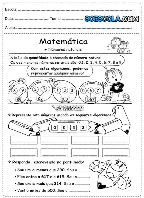 ATIVIDADES DE MATEMÁTICA 3° ANO