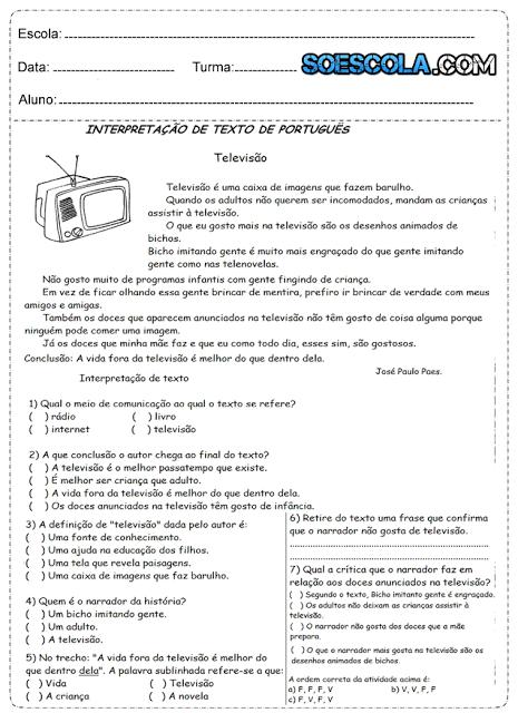 Atividades Português 4° ano Para Imprimir