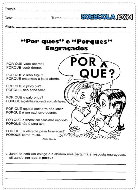 Atividades de português 4° ano para imprimir