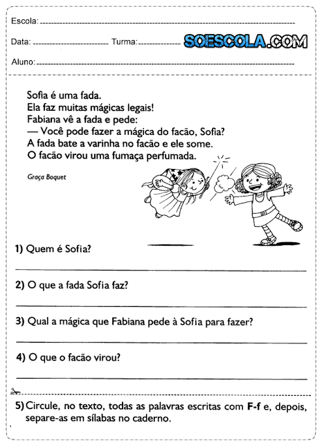 Atividades de Português 1° ano ensino fundamental