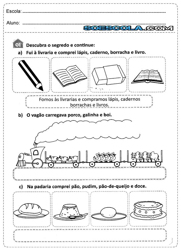 Atividades de plural 1°, 2° e 3° ano do ensino fundamental