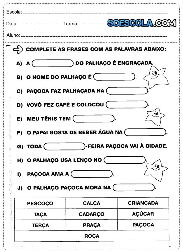 Atividades Para O 2 Ano De Português Só Escola