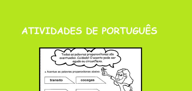Atividades 3º ano - PORTUGUÊS