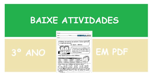 Baixe em PDF - Atividades de Português para 3º ano do Ensino Fundamental