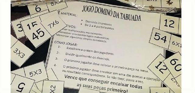 Baixe e imprima grátis o Jogo Dominó da Tabuada