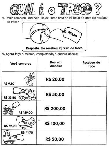 ATIVIDADES COM SISTEMA MONETÁRIO