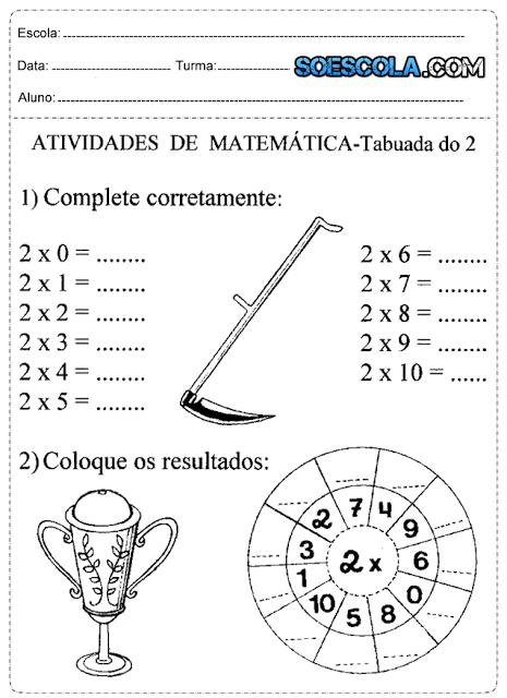 Atividades de multiplicação para o 3° ano