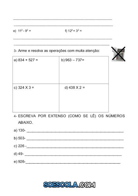 operações de adição, subtração, potenciação e a escrita por extenso dos números natural.
