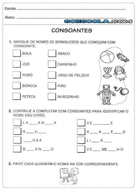 Atividades para Imprimir sobre VOGAIS e CONSOANTES