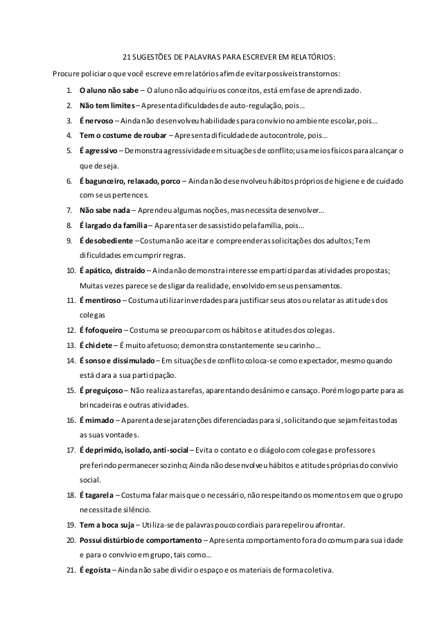 Sugestões De Palavras E Expressões Para Uso Em Relatórios Só Escola