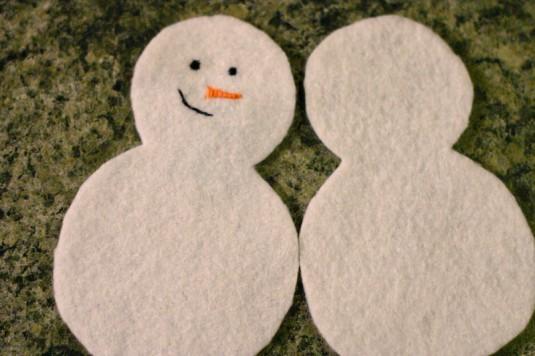 Boneco de neve em feltro passo a passo