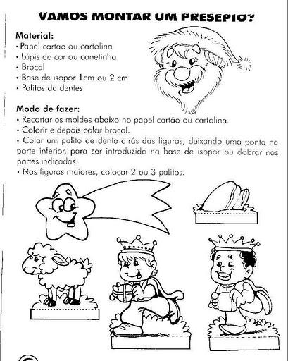 Personagens De Presc3a9pio Para Montar Recortar Natal Atividade 76