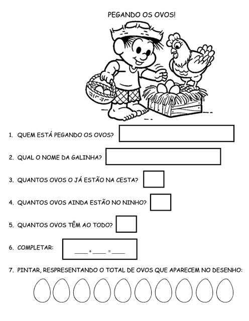 Atividade 2° Ano - Atividade com a Turma da Mônica - Complete