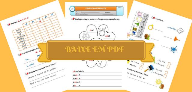 Baixe em PDF - Atividades de Português - AL EL IL OL UL