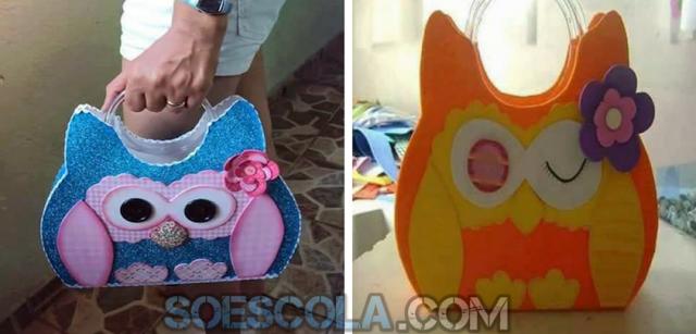 Nesta postagem trago para vocês uma linda sugestão de bolsa de coruja com moldes. Essa linda bolsa pode ser feita com EVA ou feltro. As imagens foram encontradas no Facebook Ideias e Projetos Pedagógicos.