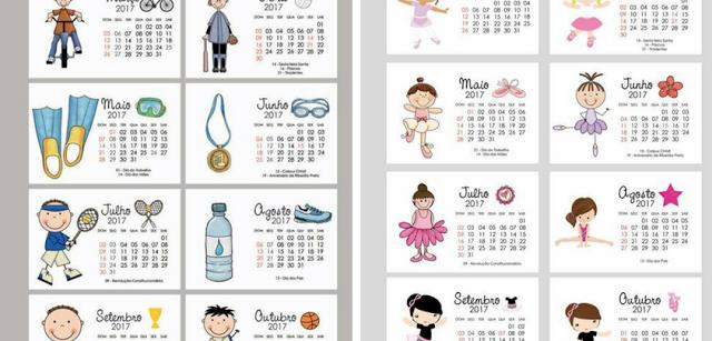 Calendários 2017 para imprimir