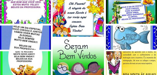 Cartões com mensagens de boas vindas - Volta às Aulas