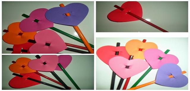 Lembrancinha: Ponteira para lápis coração com moldes