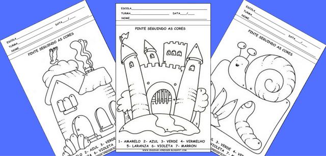 MODELOS DE ATIVIDADES PARA EDUCAÇÃO INFANTIL - PINTURA DIRIGIDA, TRABALHANDO COM CORES