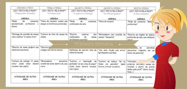 Confira um modelo de Rotina primeira semana de aula pronto para imprimir ou baixar em WORD