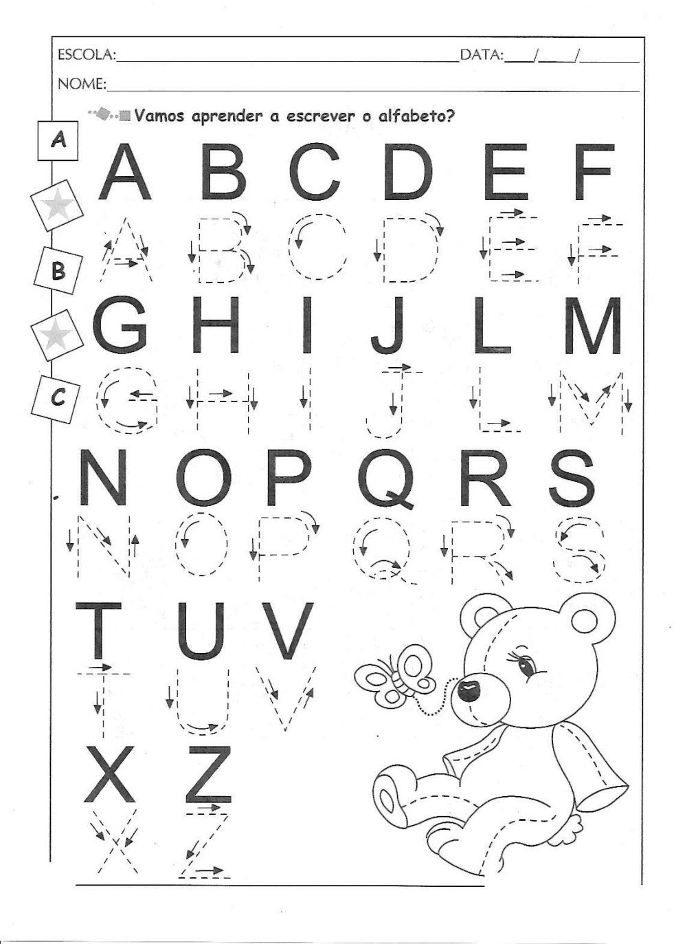 Alfabeto Pontilhado Ilustrado para imprimir