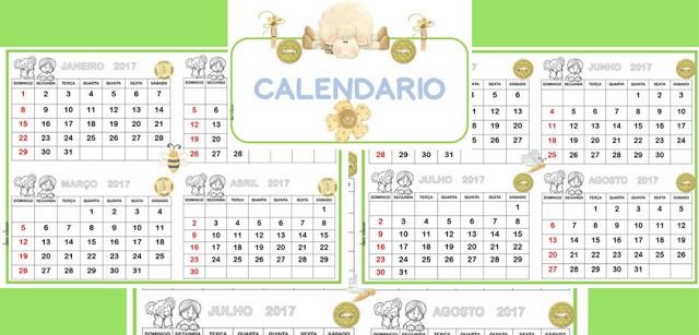 Calendário ovelhinha 2017 pronto para imprimir