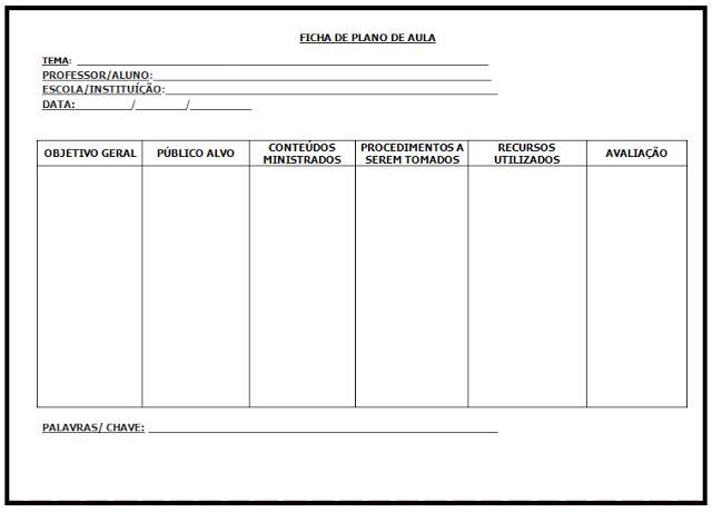 Modelo de Ficha para Plano de Aula