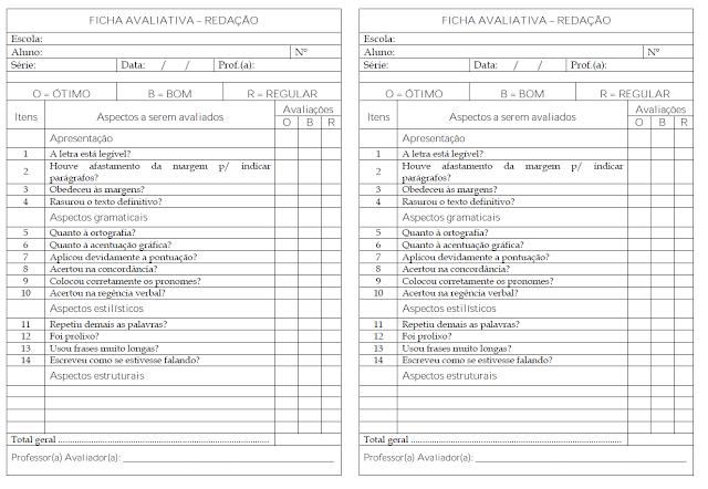 Confira um modelo de ficha avaliativa de redação pronta para imprimir ou baixar