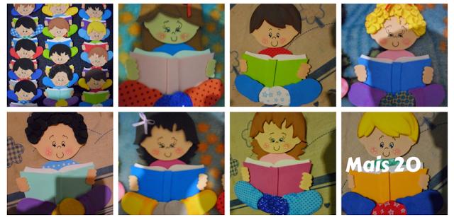 Moldes - Menino e Menina lendo em EVA