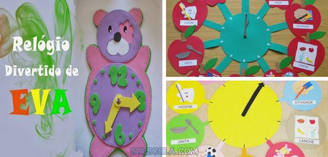 Nesta postagem trago para vocês uma sugestão de Relógio Divertido para sala de aula com moldes prontos para imprimir em EVA.