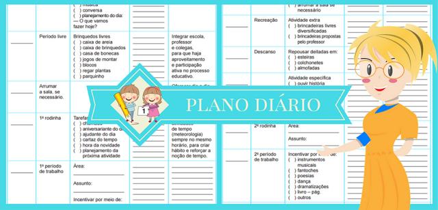 Nesta postagem trago para vocês uma Sugestão de plano diário pronto para imprimir ou baixar em PDF.