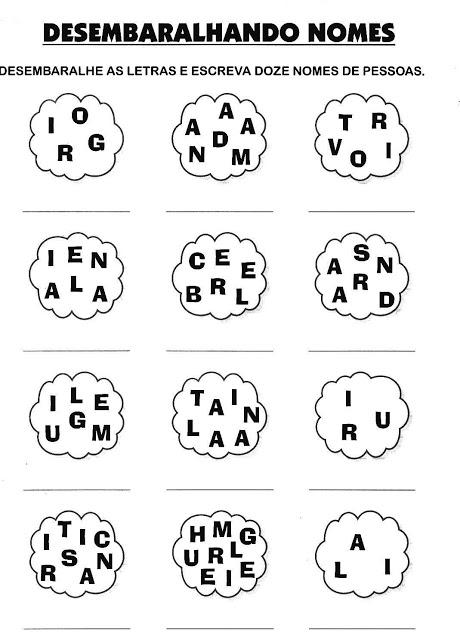 Atividades para Alfabetizar - Desembaralhe as letras e forme o nome da figura
