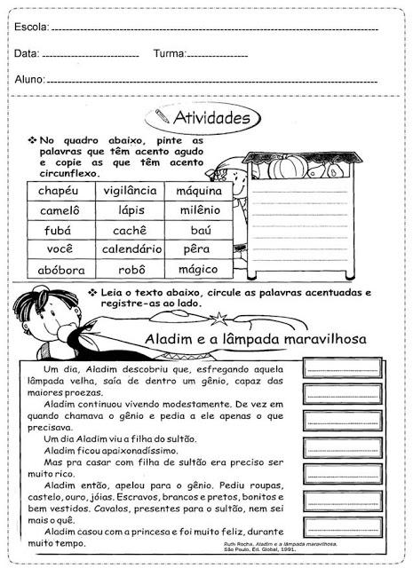 Atividades De Portugues 3 Ano Para Imprimir Acento So Escola