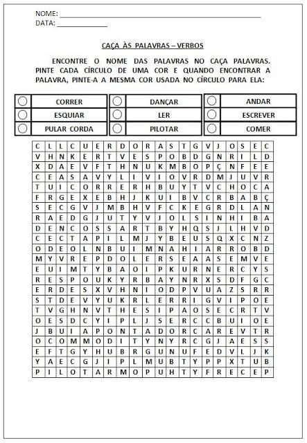 Atividades para Alfabetização - Caça-palavras verbos