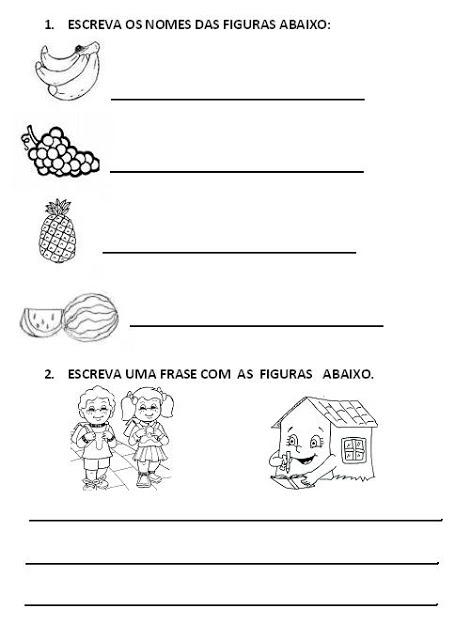 Atividades para Alfabetização - Escreva o nome das figuras Escreva uma frase