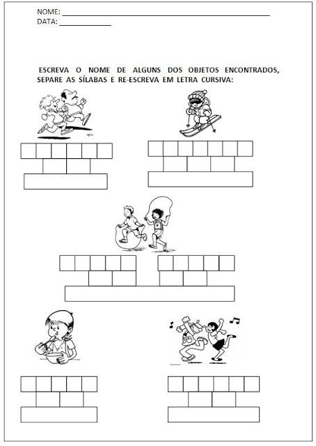 Atividades para Alfabetizar - Escreva o nome e separe as sílabas 2