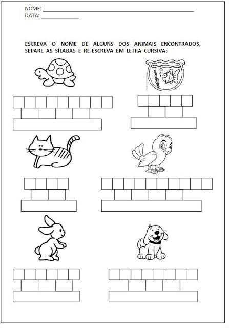 Atividades para Alfabetização - Escreva o nome e separe as sílabas 5