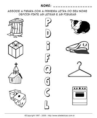 Atividades para Alfabetização - Indique a letra inicial 2