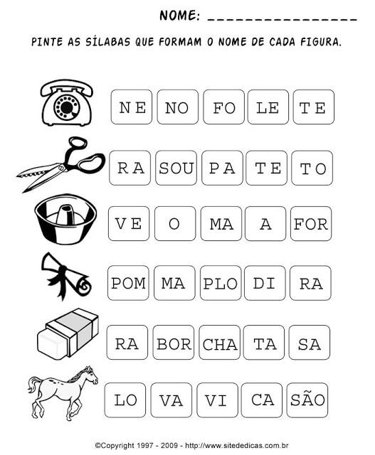 Atividades primeiro ano - Atividades para Alfabetização - Pinte as sílabas que formam a palavra