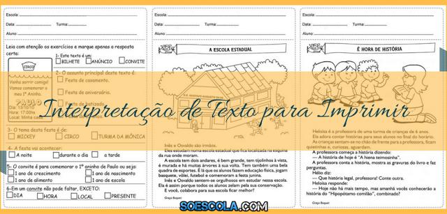 Atividades de Interpretação de Texto para Imprimir