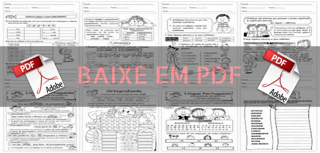 Baixe em PDF - Atividades de Português para 3º ano