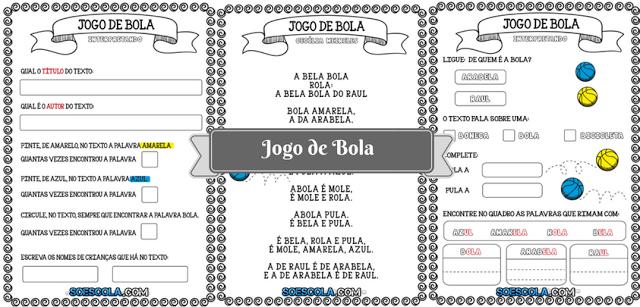 Atividades com Texto Jogo de Bola - Cecília Meireles