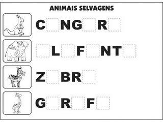 Jogos e atividades para alfabetização - Complete as palavras - Animais Selvagens