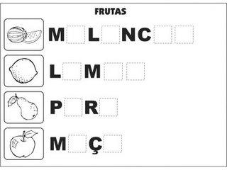 Jogos e atividades para alfabetização - Complete as palavras - Frutas